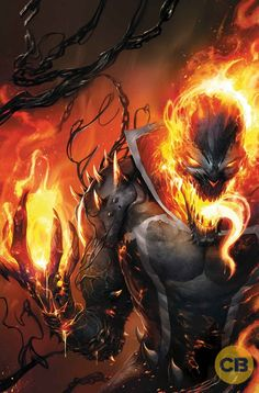 Holy epic crossover, Batman!!!  This awesome variant cover artwork (Tigh Walker - Host Rider), features the mother of all mashups, with Ghost Rider (aka Johnny Blaze etc. - Robbie Reyes in this case) wearing the Venom symbiote, and looking a bit like Spawn :)  Take one Spirit of Vengeance, add one alien symbiote, a dash of hellfire, a few chains, and you've got yourself a recipe for epic superhero / supervillain fun (hooray for comics / graphic novels!).  Your move, Marvel Studios :)