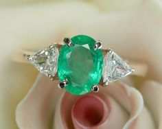 Glowing Vintage Natural Emerald & Diamond Ring