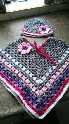 Baby Girls Afghan Poncho with Flower Hat Baby Outwear Baby Shower Gift 0-12 months