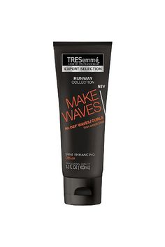 "TRESemmé Expert Selection Make Waves Shine Enhancing Cream""From TRESemmé's runway collection, this product is like a cream and gel in one. It's great for wavy, curly, or kinky hair before air drying or drying with a diffuser attachment. For softer results, mix it with your favorite cream-based, leave-in conditioner or serum."" #refinery29 http://www.refinery29.com/cheap-drugstore-hair-products#slide-22"