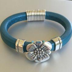 Silver Flower and Leather Bracelet by joytoyou41 on Etsy