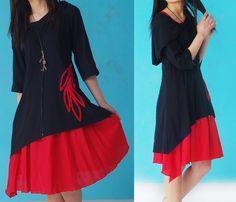 Robes mi-longues, Blue Lotus 2-in-1 dress and skirt set (Q1209) est une création orginale de idea2lifestyle sur DaWanda