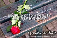 See the bench from our fault in our stars in Amsterdam