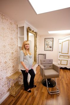 Home Salon, love the mirror and wall set up/ storage behind mirror