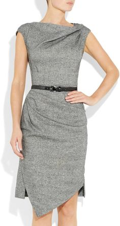 Michael Kors Draped Wool and Silkblend Tweed Dress in Gray (black) - Lyst
