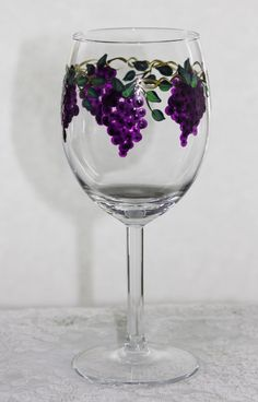 Hand Painted Wine Glasses grapes by PaintedSnowflakes on Etsy