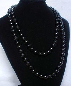 Superb 54inch Chinese Tibet Dark Black Jade Gemstone Bead Long Necklace