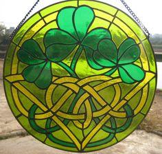 nuevo de cristal manchado irlandés shamrock sun catcher