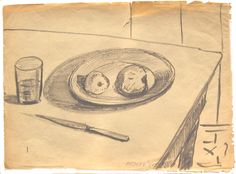 """E. Besozzi pitt. 1952 Natura morta pennarello su velina f.b.d. cm. 23,2x32,5 arc. 23 Bibliografia: E. Baj, F. B. Negri, P. Tolu monografia """" Fogli ritrovati"""" 1991."""