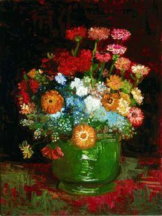 """""""Bowl of Zennias""""  --  1886  --  Vincent van Gogh  --  Dutch  --  Oil on canvas  --  Kreeger Museum"""