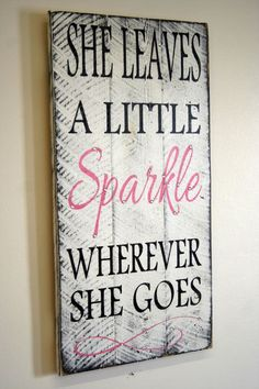 She Leaves A Little Sparkle Wherever She Goes Pallet Sign Shabby Chic Nursery Decor Girls Room Sign Baby Shower Gift Teenager Gift on Etsy, $50.00 Home Decor, DIY Home Decor #diy #decor #homedecdor