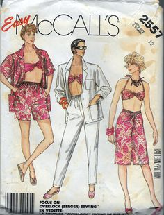 """Vintage 1986 McCall's 2557 Jacket, Bandeau Bra Top, Sarong Style Skirt, Tapered Pants & Shorts Sewing Pattern Size 12 Bust 34"""" by Recycledelic1 on Etsy"""