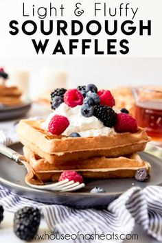 These fluffy-crisp Sourdough Waffles have the most amazing flavor and texture and are made with your sourdough discard so nothing goes to waste! Best Breakfast Recipes, Make Ahead Breakfast, Brunch Recipes, Breakfast Buffet, Waffle Recipes, Banana Bread Recipes, Fluffy Waffles, Sourdough Recipes, Chicken And Waffles