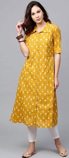 yellow print turn-down collar cotton blended summer dress yellow print turn-dow. Simple Kurti Designs, New Kurti Designs, Kurta Designs Women, Kurti Designs Party Wear, Stylish Dress Designs, Stylish Dresses, Blouse Designs, Stylish Outfits, Yellow Dress Summer
