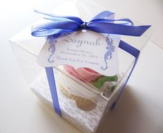 cupcake packaging idea....clear box with chevron gift tag