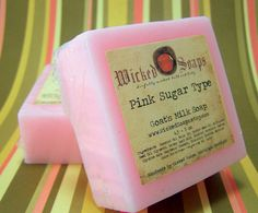 Pink Sugar Type Natural Goats Milk Soap Bar by by WickedSoaps, $5.50