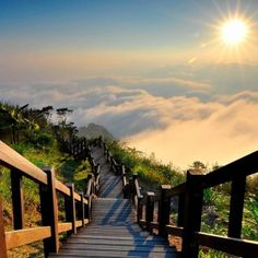 This stairway to heaven I might actually climb. Stairway to heaven _ Yushan National Park, Taiwan Places Around The World, Oh The Places You'll Go, Places To Travel, Places To Visit, Around The Worlds, Travel Destinations, Travel Tourism, Beautiful World, Beautiful Places