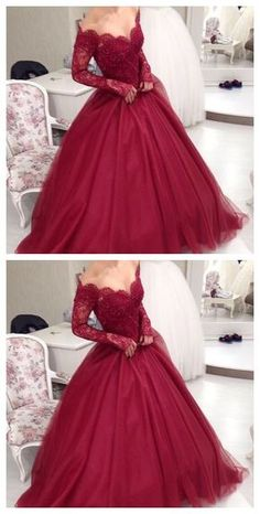 Long Party Dresses Burgundy prom dresses 2017 Ball Gowns evening dresses Sweetheart Lace Appliques Puffy Skirt Floor Length Wine Red Saudi Arabia Prom Dresses Custom - Winter is here, and with it the latest fashion trends Elegant Dresses, Pretty Dresses, Beautiful Dresses, Formal Dresses, Long Dresses, Women's Dresses, Red Sweet 16 Dresses, Formal Prom, Casual Dresses