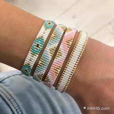 I wanted showing you making a bracelet with natural stone and leather thread with video. Leather bracelet bracelet made out … Loom Bracelet Patterns, Bead Loom Bracelets, Bead Loom Patterns, Bracelet Crafts, Woven Bracelets, Beaded Jewelry Patterns, Handmade Bracelets, Jewelry Crafts, Handmade Jewelry