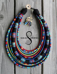 Maasai Queen (blue) yarn-wrapped necklace / tribal / hippie / bohemian / vibrant / thread-wrapped / colorful / Maasai