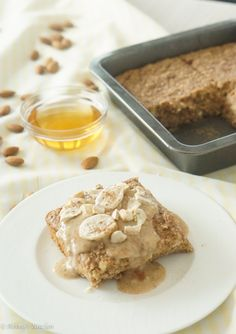 A delicious Gluten Free Baked Oatmeal with a creamy Banana Honey Nut Sauce that is so delicious it tastes like dessert but is packed with nutrition.