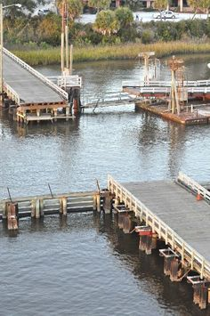 The swing bridge opened for boat passage. Sunset Beach NC ~ Now replaced with a huge bridge but the memories will remain.