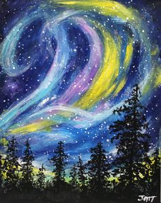 "NORTHERN LIGHTS, original painting, acrylic  painting, 8"" x 10"" canvas board. aurora borealis, cosmic sky, wall decor, home decor, wall art"