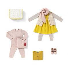 Girl's yellow dress and pink knitted cardigan - Bonton