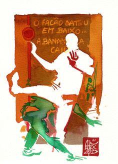 Illustration : Capoeira – 789 [ #capoeira #watercolor #illustration] aquarelle sur papier 325gr / watercolor on paper 325gr 19 x 14 cm / 7.5 x 5.5 in