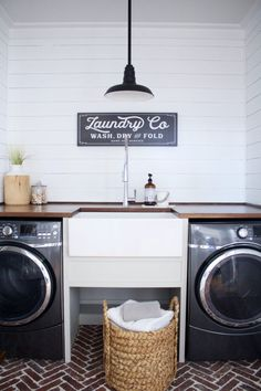 We got to be a part of Stacey's recent laundry room renovation which included our new Bradstreet II Fireclay Farmhouse All-In-One Kit with Pfister faucet. See how this epic DIY project turned out, and get ready to have some serious laundry room envy! Laundry Room Storage Solutions, Basement Laundry Room, Room Renovation, Room Design, Washing Laundry, Fireclay Sink, Room Makeover, Stylish Laundry Room, Room Storage Diy