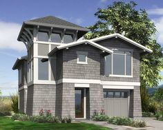 <ul><li>At just 30 feet wide, this view-grabbing home plan includes a single-car garage, three bedrooms, and a reverse two-story design that seizes the view.  </li><li>The main level of the home is primarily utilitarian. The garage connects to a hallway that leads to the laundry room, and to a pair of secondary bedrooms and a full bath. The hallway also directs traffic to the entry hall where a wraparound staircase ascends to the upper level.  </li><li>The stair tower is filled with light…