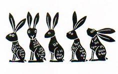 Lino Print - Line of Hares  £16.00