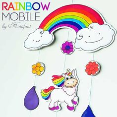 Make a cute Rainbow and Unicorn Mobile with Hattifant. There are FREE printables for you to download and video instructions! Enjoy!
