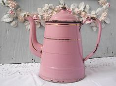 Fabulous Vintage French Antique Enamel Pink