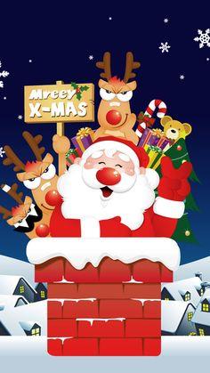 Roof Santa Christmas iPhone 6 & iPhone 6 Plus Wallpaper