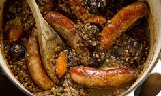Hugh Fearnley-Whittingstall's sausage and puy lentil hotpot with prunes