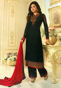 Embroidered Georgette Pakistani Suit in Black Pakistani Dress Design, Pakistani Suits, Pakistani Dresses, Punjabi Suits, Kurti Embroidery Design, Embroidery Suits, Salwar Designs, Kurti Designs Party Wear, Designer Salwar Suits