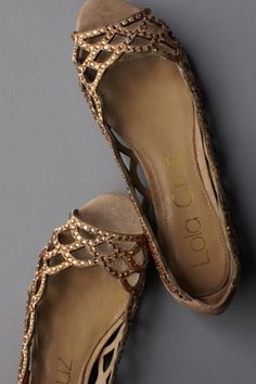 scalloped suede cutouts and tiny crystal embellishments, the perfect flats for a backyard wedding? #shoes