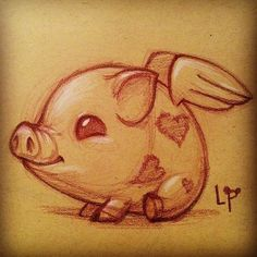 By Linda Hong drawing This Little Piggy, Little Pigs, Pig Drawing, Drawing Sketches, Animal Drawings, Cool Drawings, Pelo Anime, Pig Art, Cute Piggies