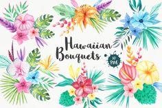 Monday Mania! Free Graphics!! Tropical Bouquets Clipart Set by LarysaZabrotskaya on @creativemarket
