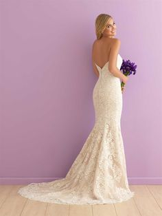 Allure Romance, Style #2903, Sample Size 12, Ivory Lace over Antique Lining, Available in store Spring 2016.  Bridal Boutique, 2207 N. Belt Hwy, Suite F, St.