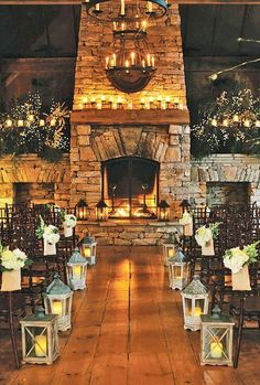 Rustic Christmas Wedding in the Mountains wedding winter Rustic Christmas Wedding in the Mountains // Hostess with the Mostess® Indoor Wedding Ceremonies, Wedding Ceremony Backdrop, Wedding Arches, Indoor Ceremony, Ceremony Decorations, Wedding Lanterns, Candlelight Wedding, Wedding Fireplace Decorations, Christmas Wedding Decorations