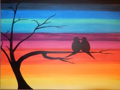 16 x 20 Stretched Canvas Love Birds Silhouette by 3LeavesArtistry