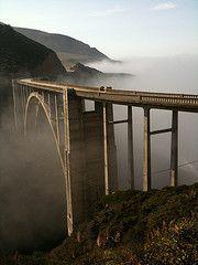 Fog rolling in at the Bixby Bridge in Big Sur