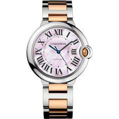 CARTIER Ballon Bleu de Cartier 18ct pink-gold and stainless steel... ($9,155) ❤ liked on Polyvore featuring jewelry, watches, fake watches, rose gold jewelry, rose gold stainless steel jewelry, pink watches and rose gold watches