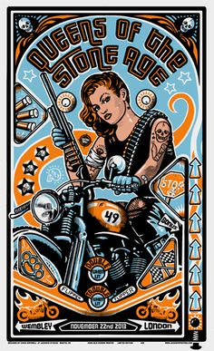 Queens of the stone age gig poster by Chris Hopewell