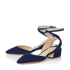 YDN Women's Block Low Heel Sandals Pointy Toe D'orsay Shoes Slingback Pumps with Ankle Strap Dark Blue 8
