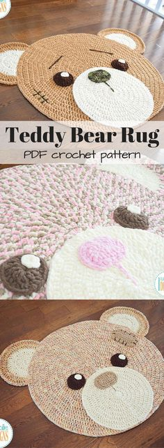 Classic Teddy Bear Crochet Rug PDF Pattern with Instant Download. This would look great in a nursery or kid's room and would make a fantastic baby shower gift! #etsy #ad