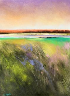 Daily Painters Abstract Gallery: Soft Yellow Green Field, abstract landscape by Carol Engles