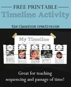 This timeline activity is great for the end of the school year AND it's TOTALLY FREE! Perfect for all grades in elementary. Stop by and grab all the free printables necessary to make this Montessori-inspired timeline. Montessori Elementary, Montessori Classroom, Montessori Activities, Kindergarten Activities, Preschool, Kids Timeline, Classroom Timeline, Timeline Ideas, Teaching Social Studies
